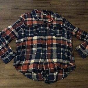 Lucky Brand pink and blue and white plaid large